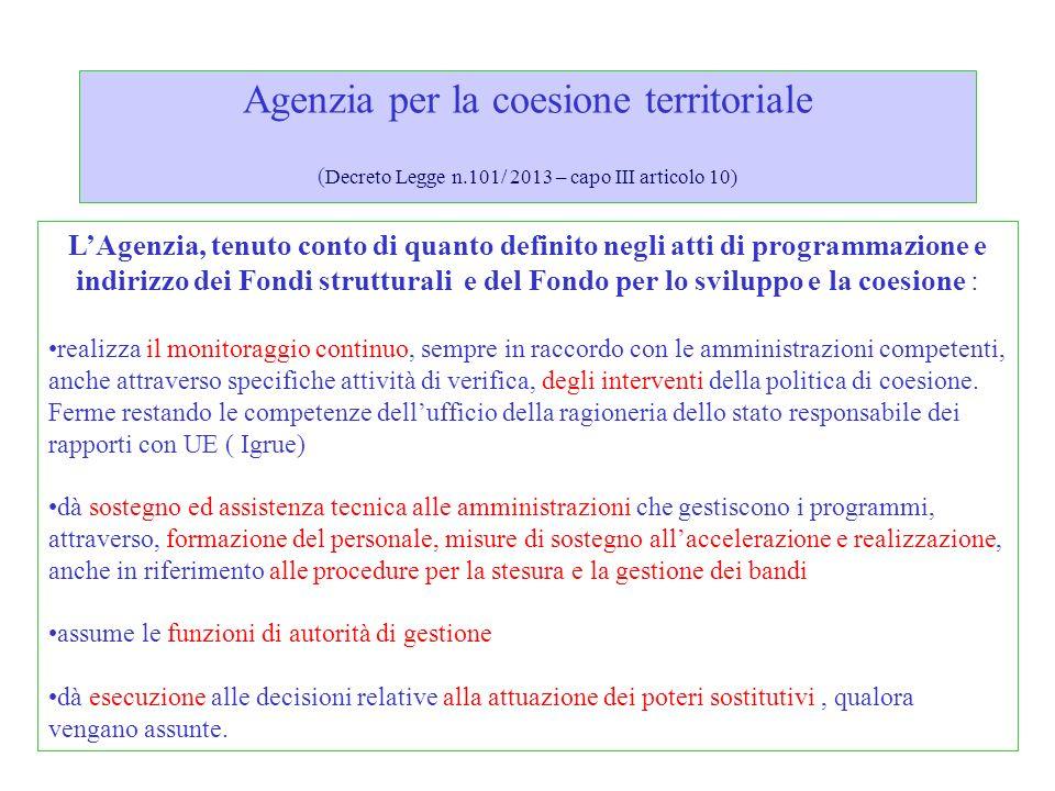 Agenzia per la coesione territoriale (Decreto Legge n