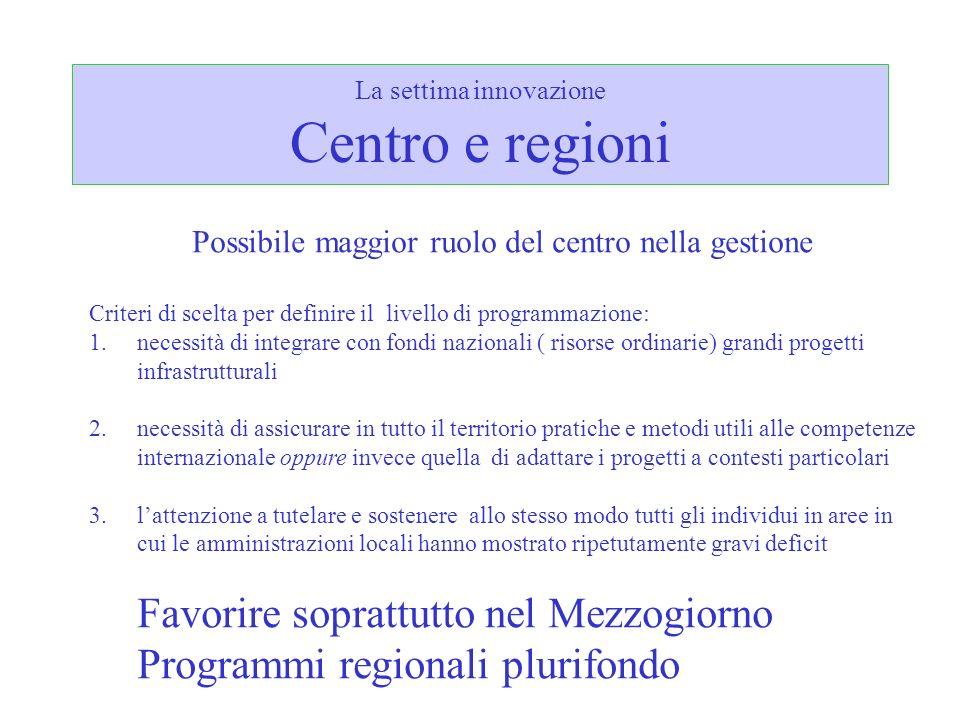 La settima innovazione Centro e regioni
