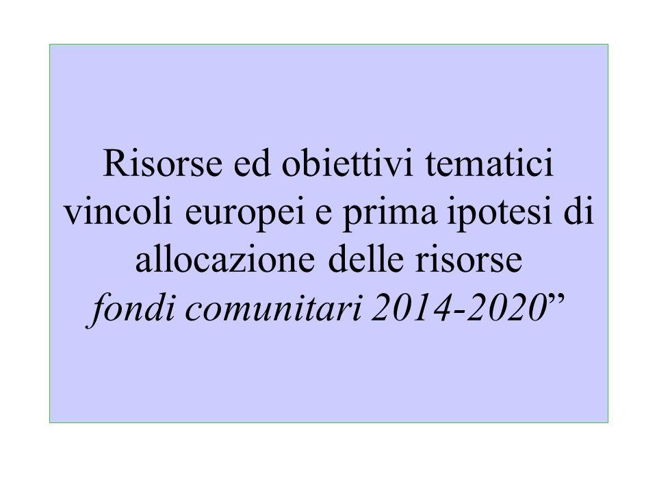 Risorse ed obiettivi tematici vincoli europei e prima ipotesi di allocazione delle risorse fondi comunitari 2014-2020