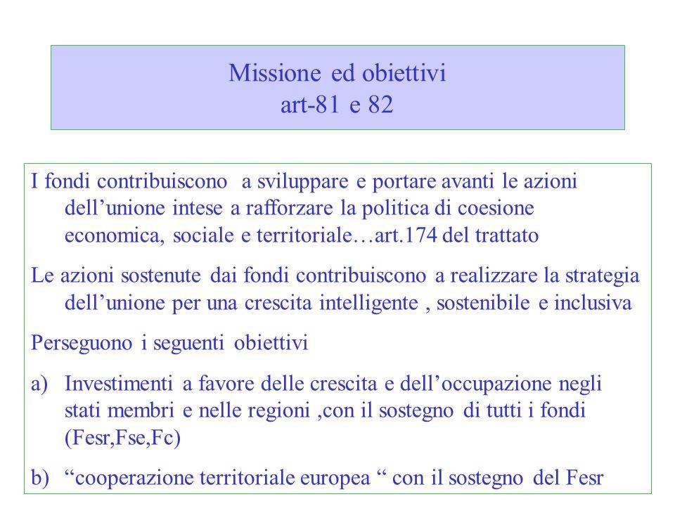 Missione ed obiettivi art-81 e 82