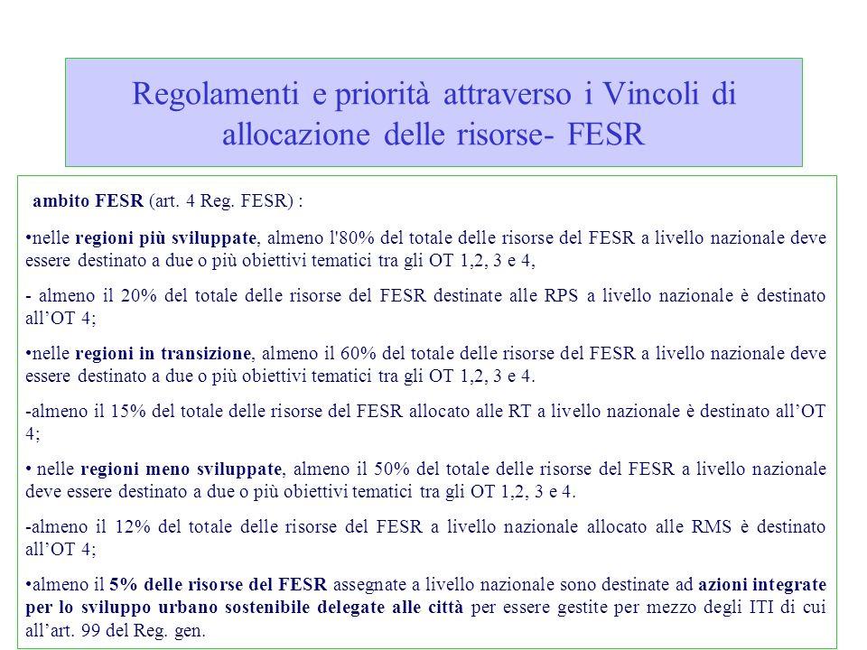 Regolamenti e priorità attraverso i Vincoli di allocazione delle risorse- FESR