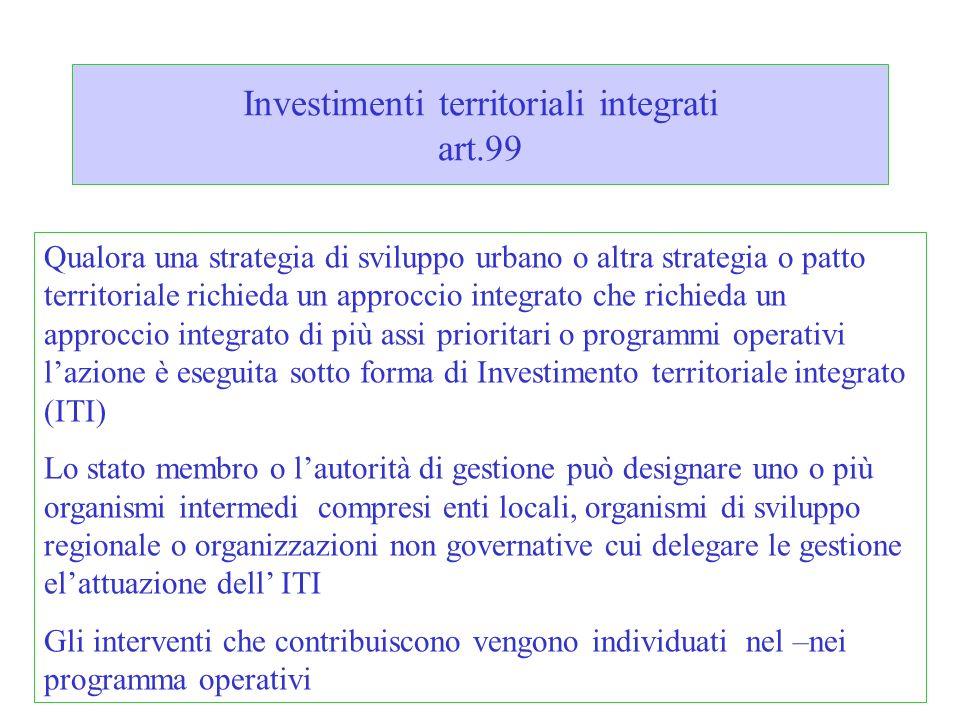 Investimenti territoriali integrati art.99