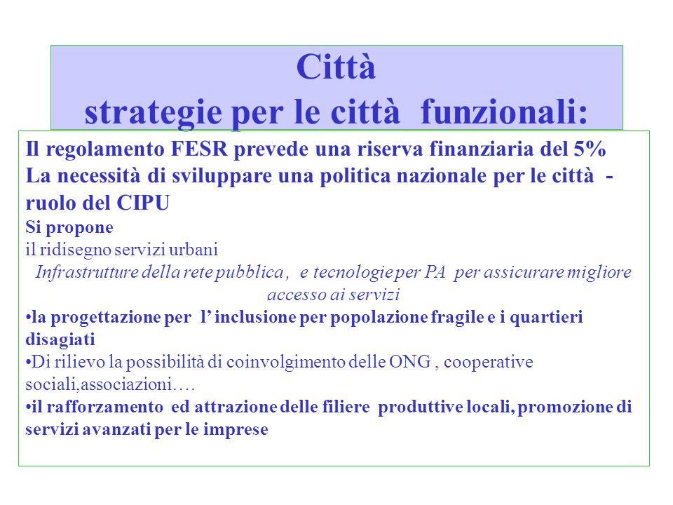 Città strategie per le città funzionali: