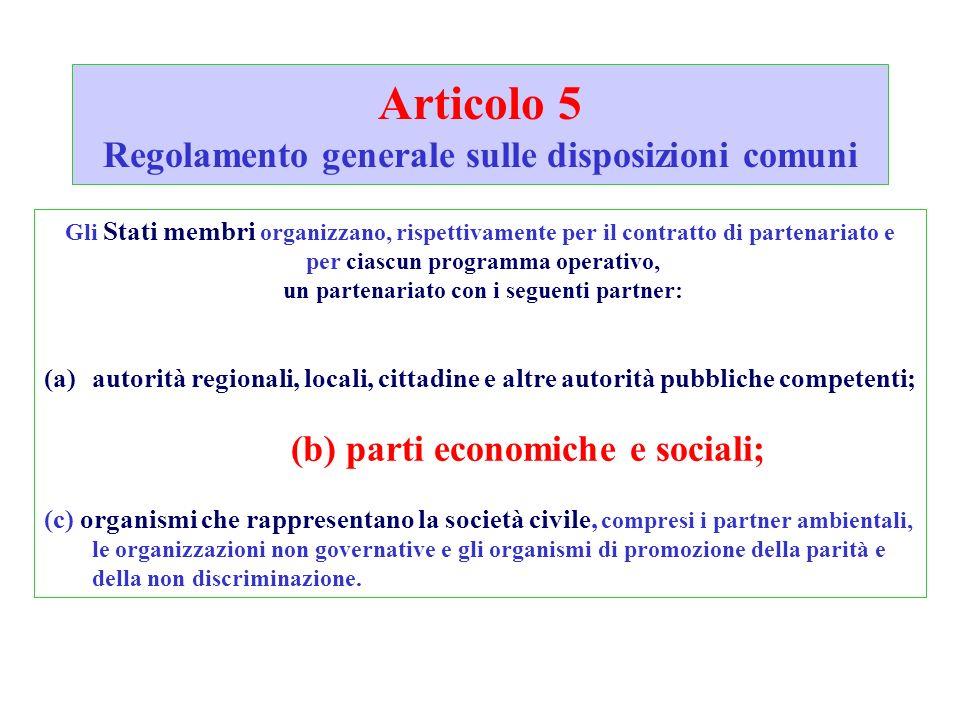 Articolo 5 Regolamento generale sulle disposizioni comuni