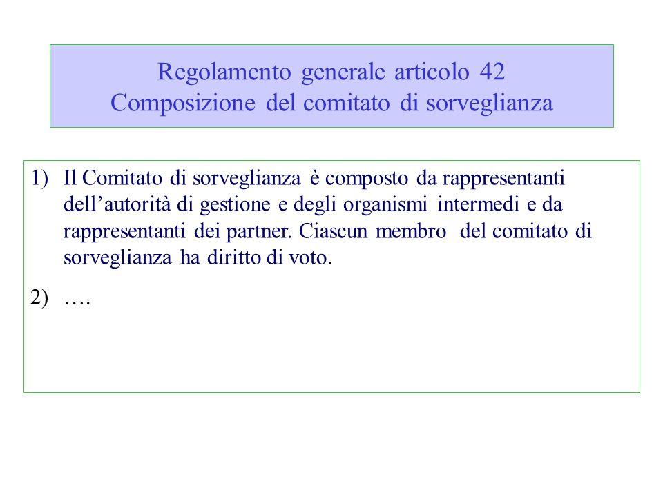 Regolamento generale articolo 42 Composizione del comitato di sorveglianza