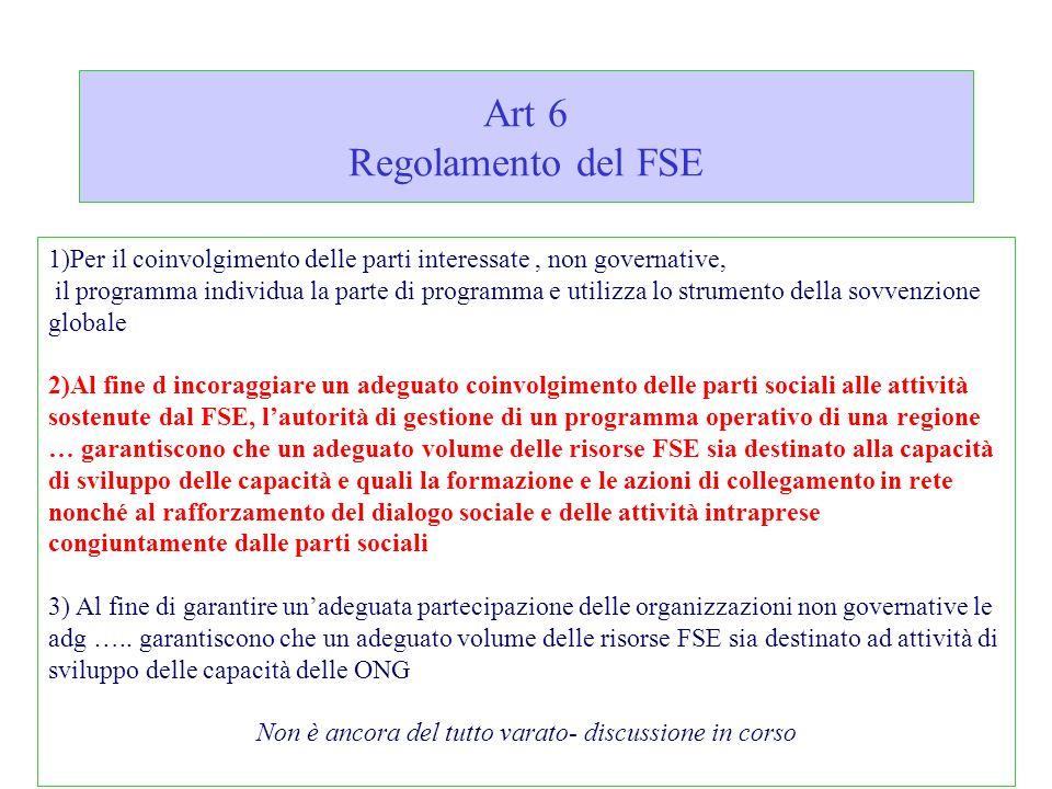 Art 6 Regolamento del FSE