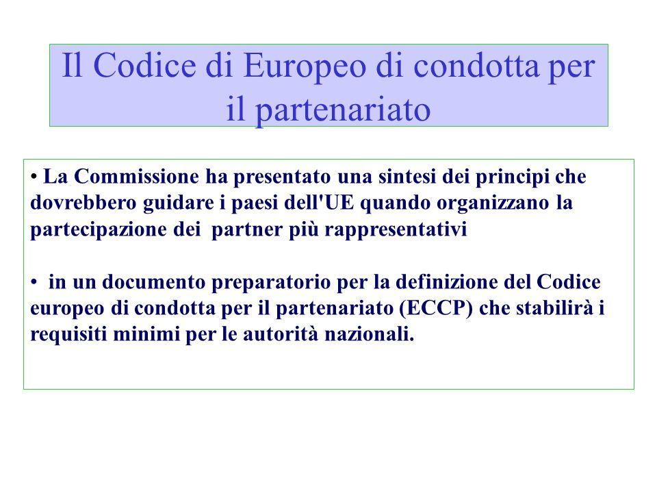 Il Codice di Europeo di condotta per il partenariato