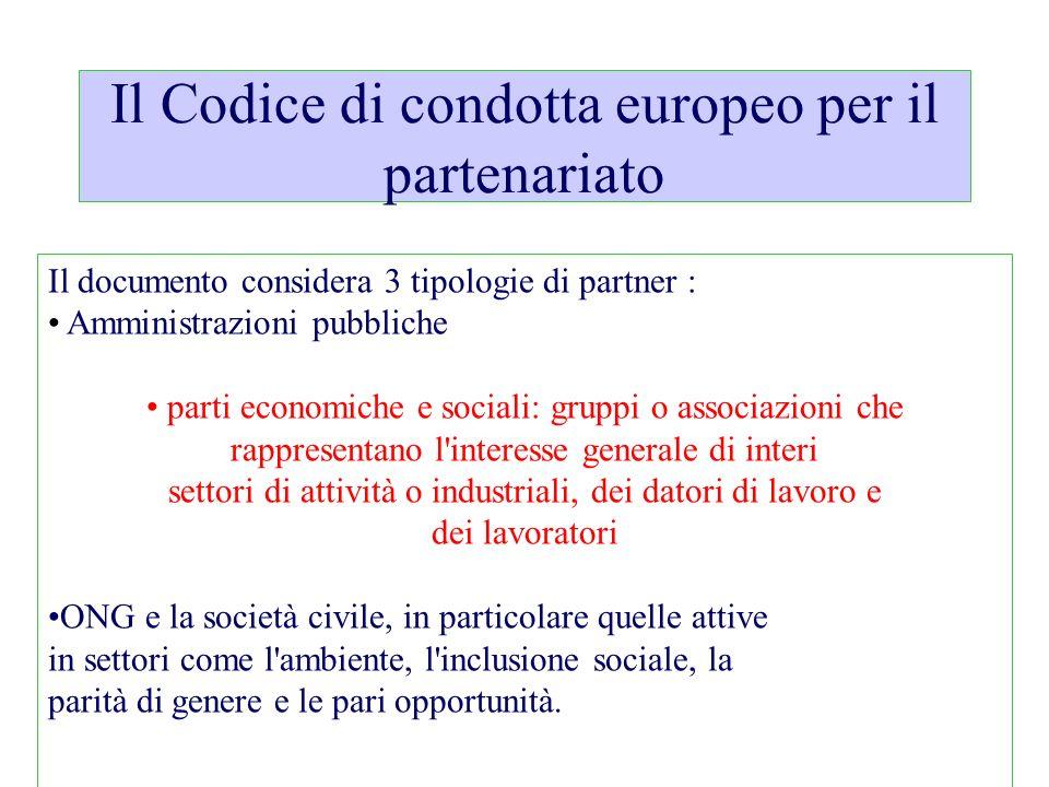 Il Codice di condotta europeo per il partenariato
