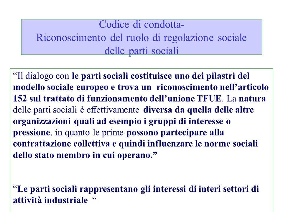 Codice di condotta- Riconoscimento del ruolo di regolazione sociale delle parti sociali
