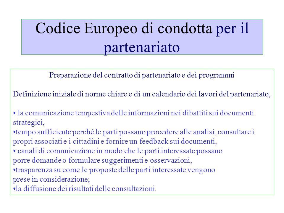 Codice Europeo di condotta per il partenariato