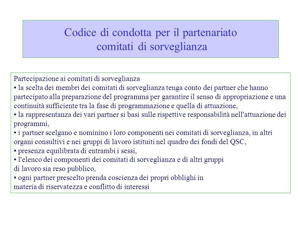 Codice di condotta per il partenariato comitati di sorveglianza