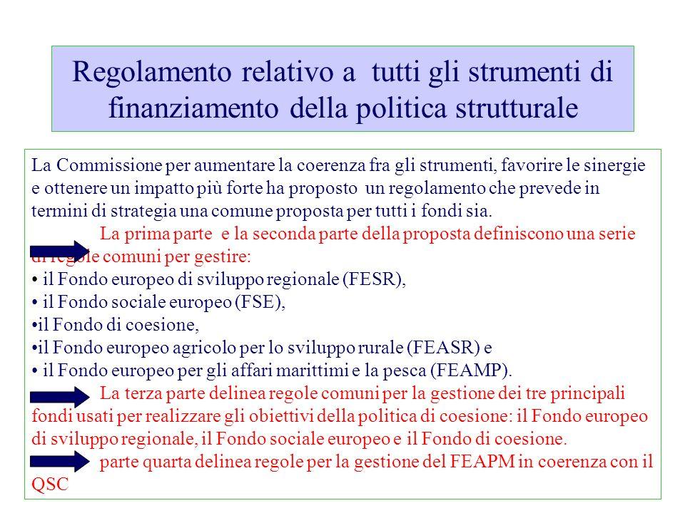 Regolamento relativo a tutti gli strumenti di finanziamento della politica strutturale