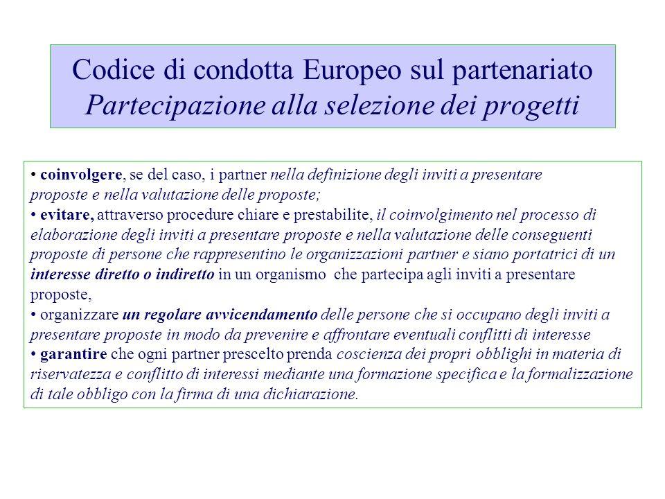Codice di condotta Europeo sul partenariato Partecipazione alla selezione dei progetti