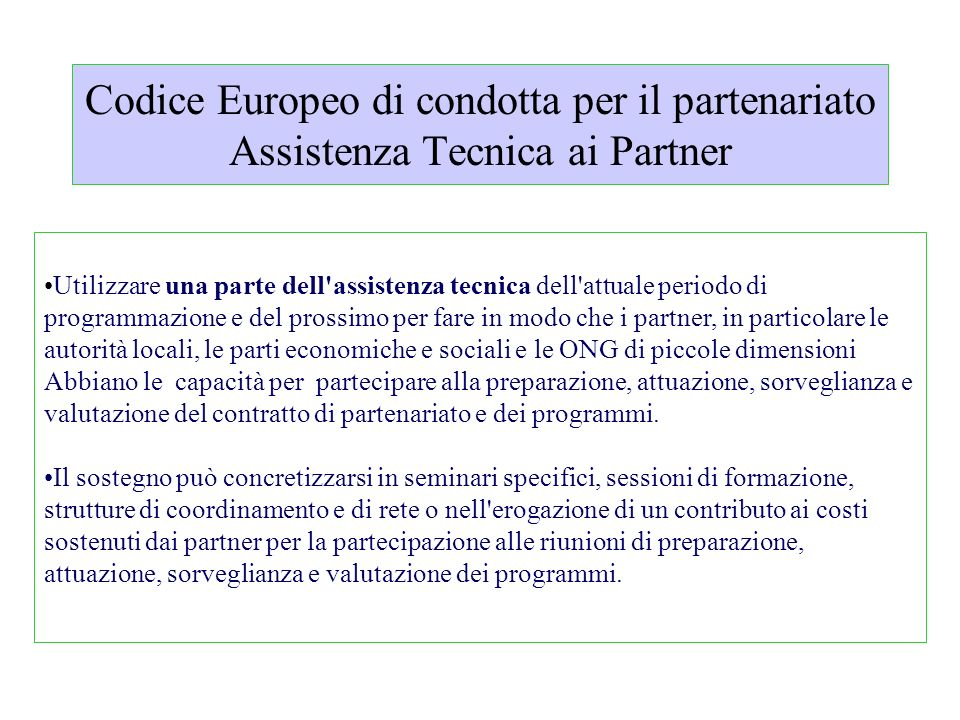 Codice Europeo di condotta per il partenariato Assistenza Tecnica ai Partner