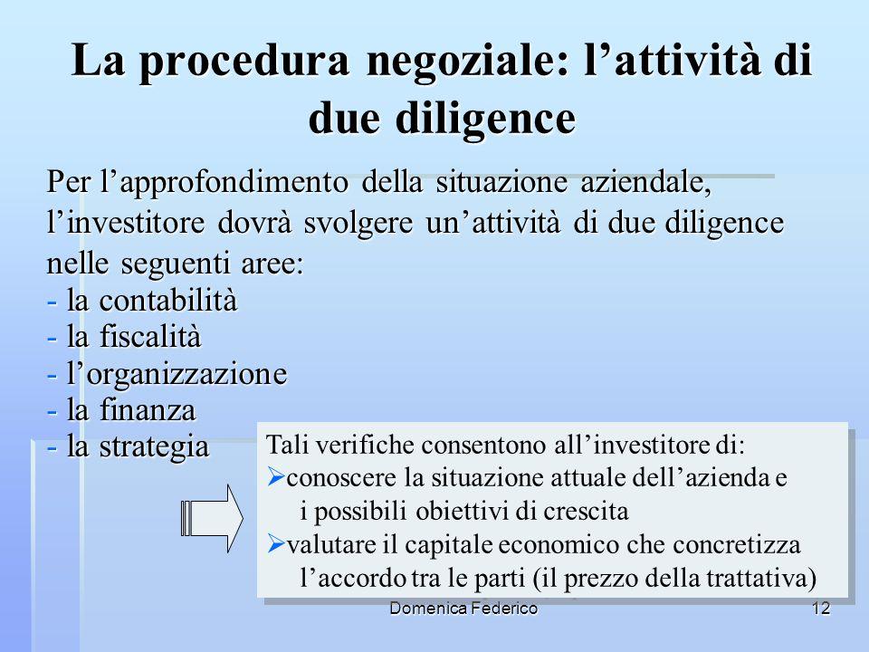 La procedura negoziale: l'attività di due diligence