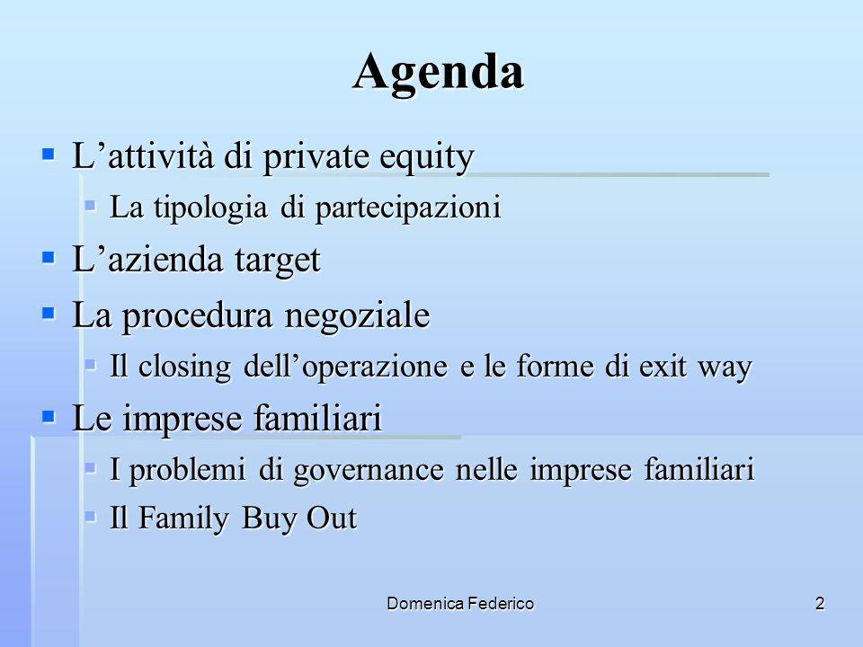 Agenda L'attività di private equity L'azienda target