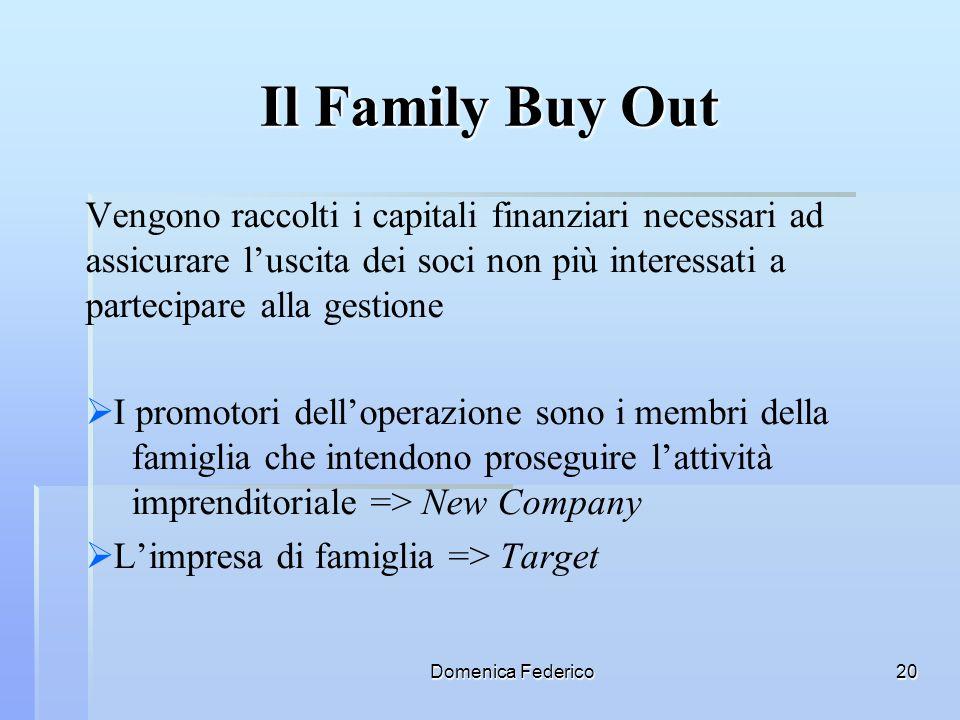 Il Family Buy OutVengono raccolti i capitali finanziari necessari ad assicurare l'uscita dei soci non più interessati a partecipare alla gestione.