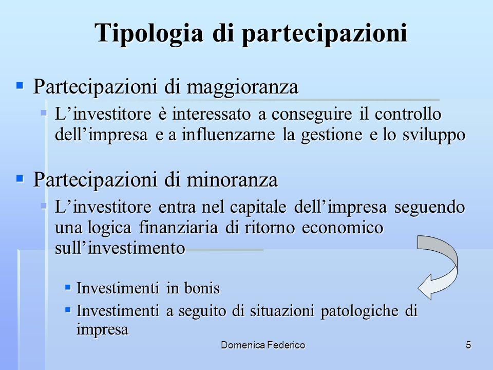 Tipologia di partecipazioni