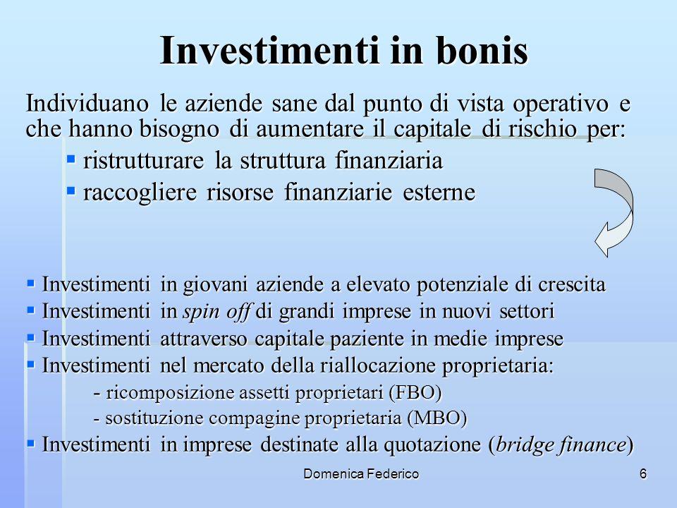 Investimenti in bonis Individuano le aziende sane dal punto di vista operativo e che hanno bisogno di aumentare il capitale di rischio per: