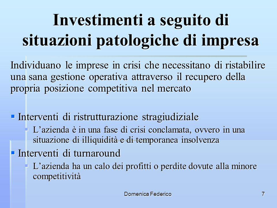 Investimenti a seguito di situazioni patologiche di impresa
