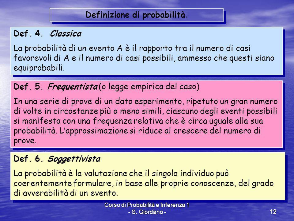Definizione di probabilità.