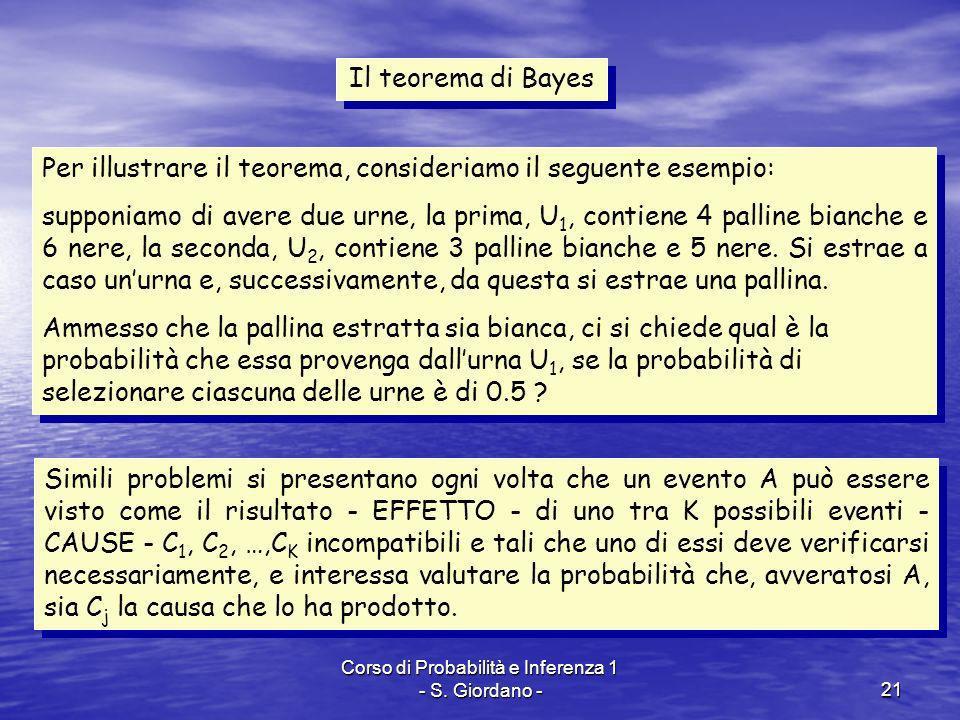 Corso di Probabilità e Inferenza 1 - S. Giordano -