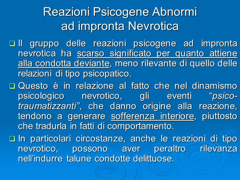 Reazioni Psicogene Abnormi ad impronta Nevrotica