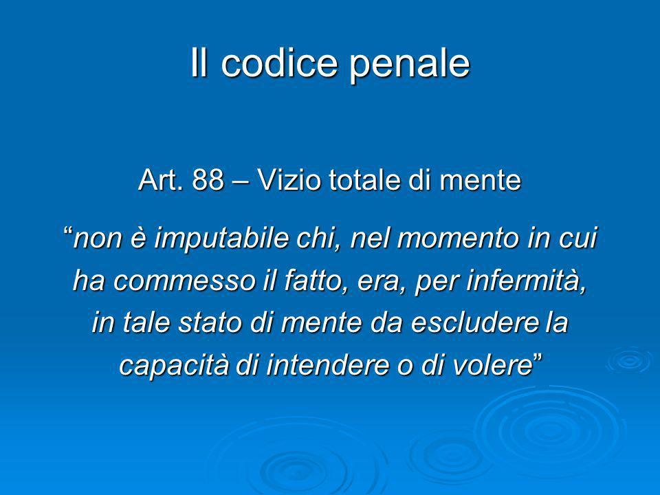 Il codice penale Art. 88 – Vizio totale di mente