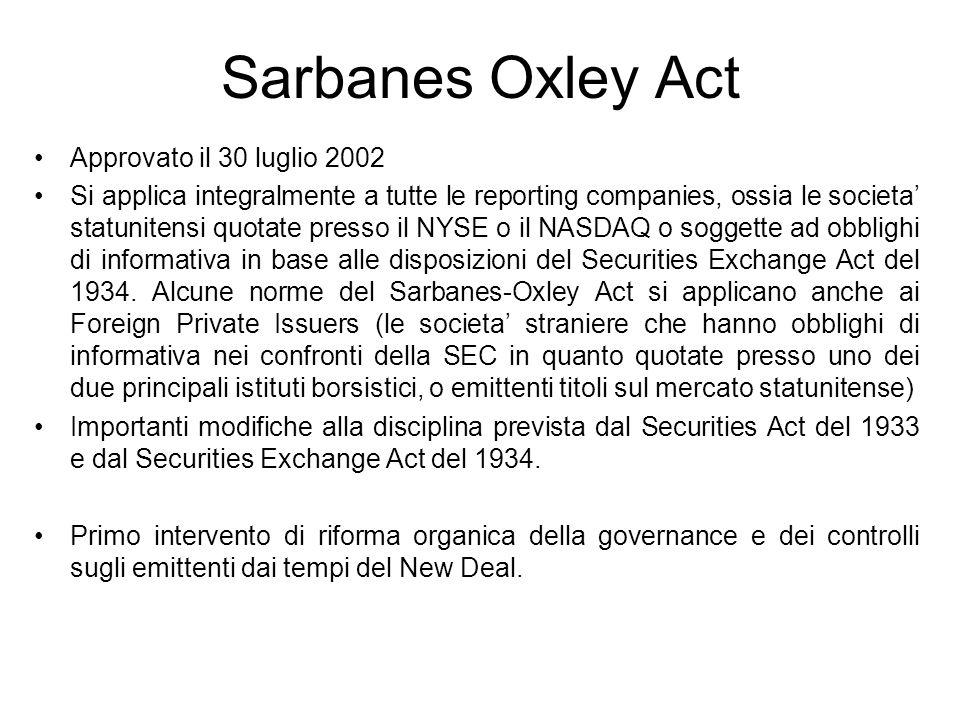 Sarbanes Oxley Act Approvato il 30 luglio 2002