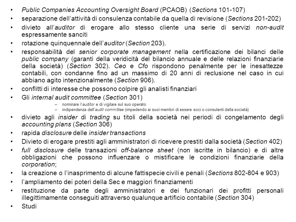 Public Companies Accounting Oversight Board (PCAOB) (Sections 101-107)