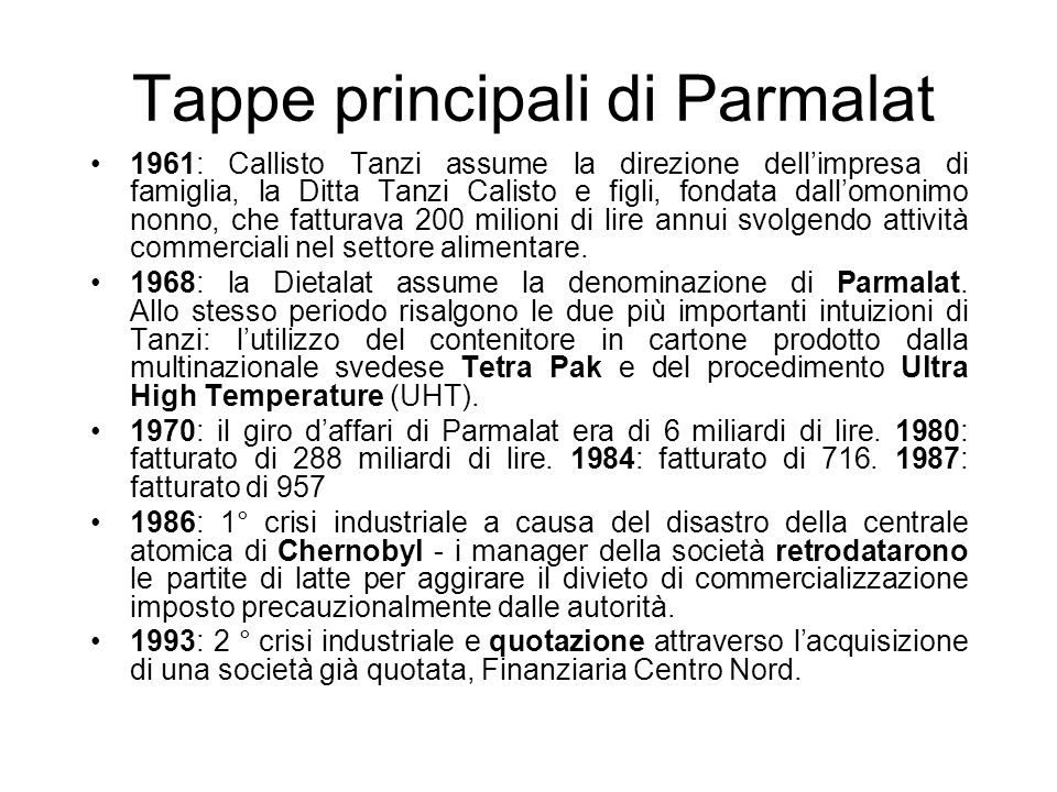 Tappe principali di Parmalat