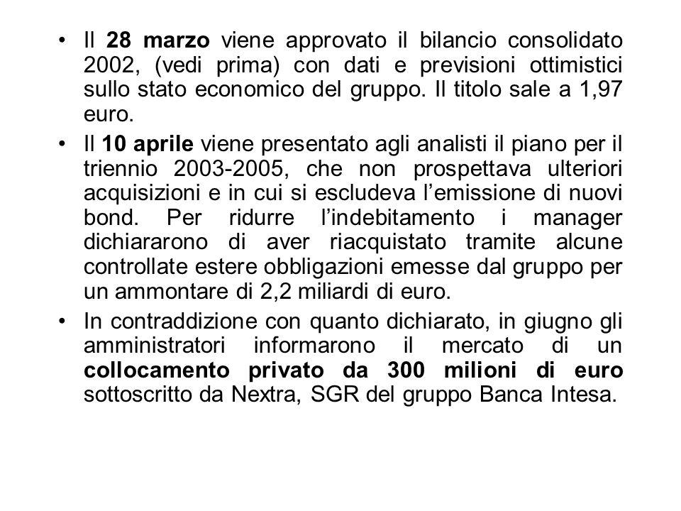 Il 28 marzo viene approvato il bilancio consolidato 2002, (vedi prima) con dati e previsioni ottimistici sullo stato economico del gruppo. Il titolo sale a 1,97 euro.