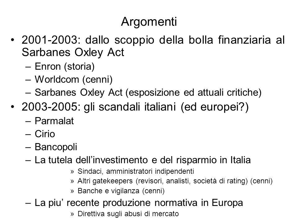 Argomenti 2001-2003: dallo scoppio della bolla finanziaria al Sarbanes Oxley Act. Enron (storia) Worldcom (cenni)