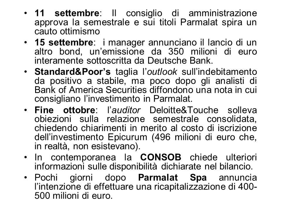 11 settembre: Il consiglio di amministrazione approva la semestrale e sui titoli Parmalat spira un cauto ottimismo