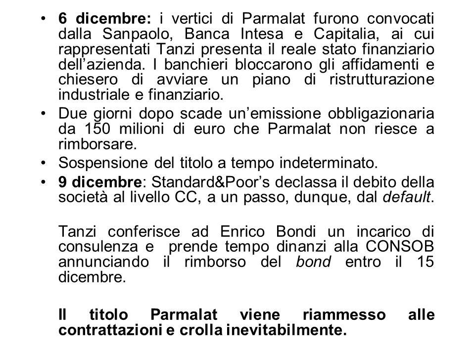 6 dicembre: i vertici di Parmalat furono convocati dalla Sanpaolo, Banca Intesa e Capitalia, ai cui rappresentati Tanzi presenta il reale stato finanziario dell'azienda. I banchieri bloccarono gli affidamenti e chiesero di avviare un piano di ristrutturazione industriale e finanziario.