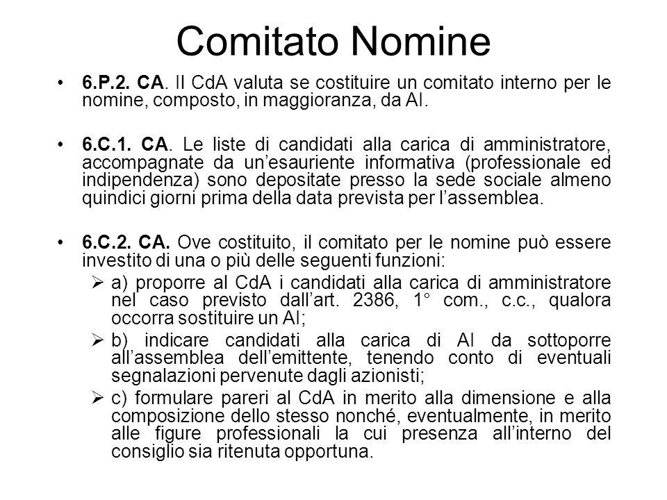 Comitato Nomine 6.P.2. CA. Il CdA valuta se costituire un comitato interno per le nomine, composto, in maggioranza, da AI.