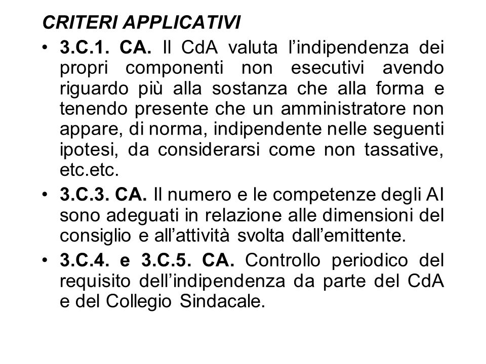CRITERI APPLICATIVI