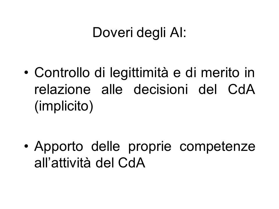 Doveri degli AI: Controllo di legittimità e di merito in relazione alle decisioni del CdA (implicito)