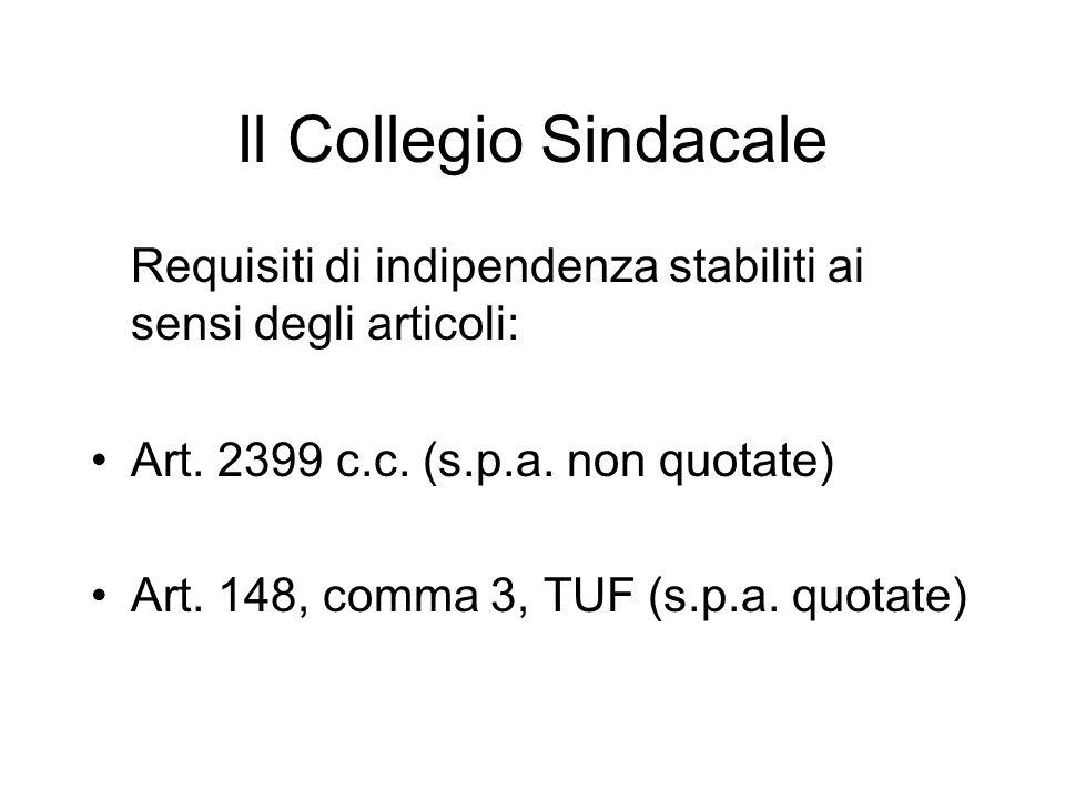 Il Collegio Sindacale Requisiti di indipendenza stabiliti ai sensi degli articoli: Art. 2399 c.c. (s.p.a. non quotate)