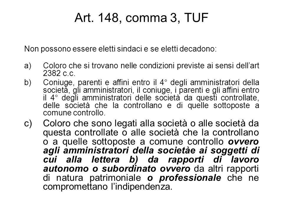 Art. 148, comma 3, TUF Non possono essere eletti sindaci e se eletti decadono: