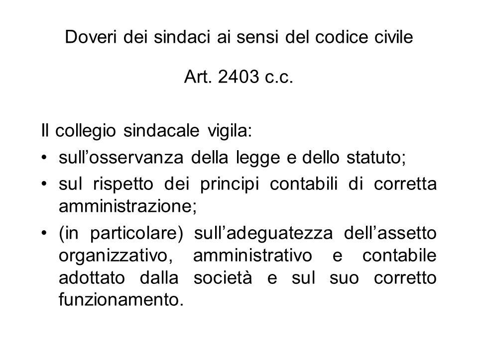 Doveri dei sindaci ai sensi del codice civile