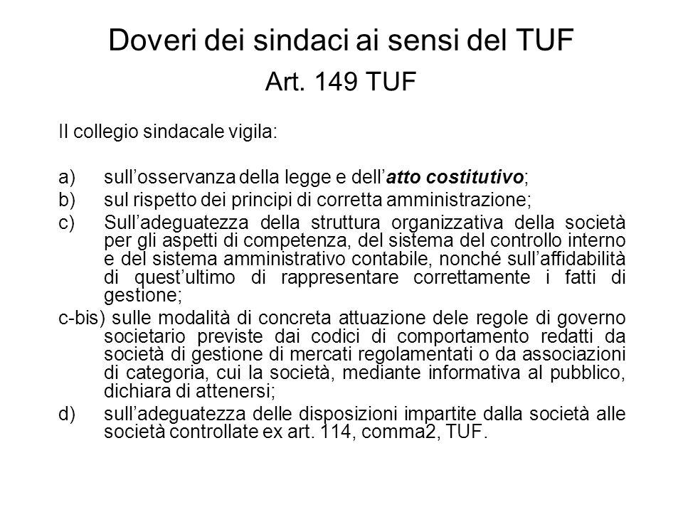 Doveri dei sindaci ai sensi del TUF