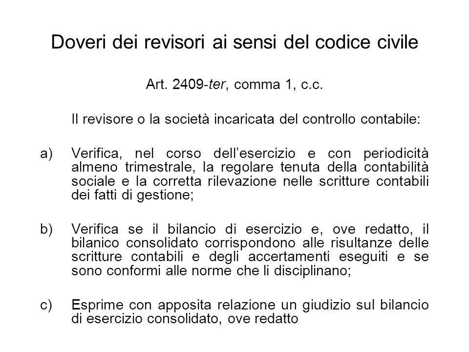 Doveri dei revisori ai sensi del codice civile