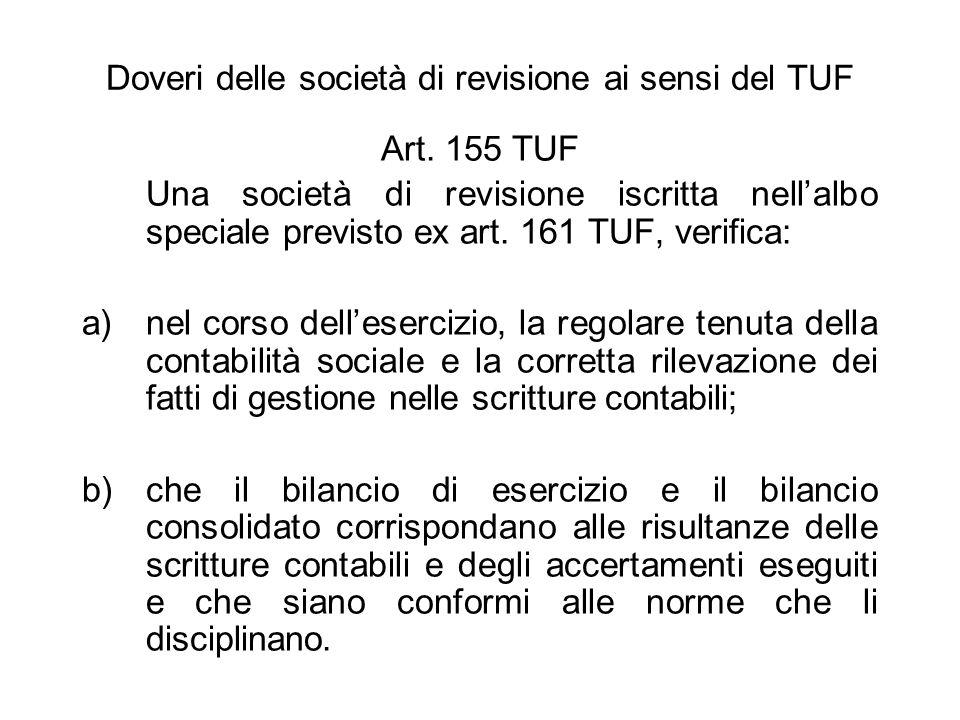 Doveri delle società di revisione ai sensi del TUF