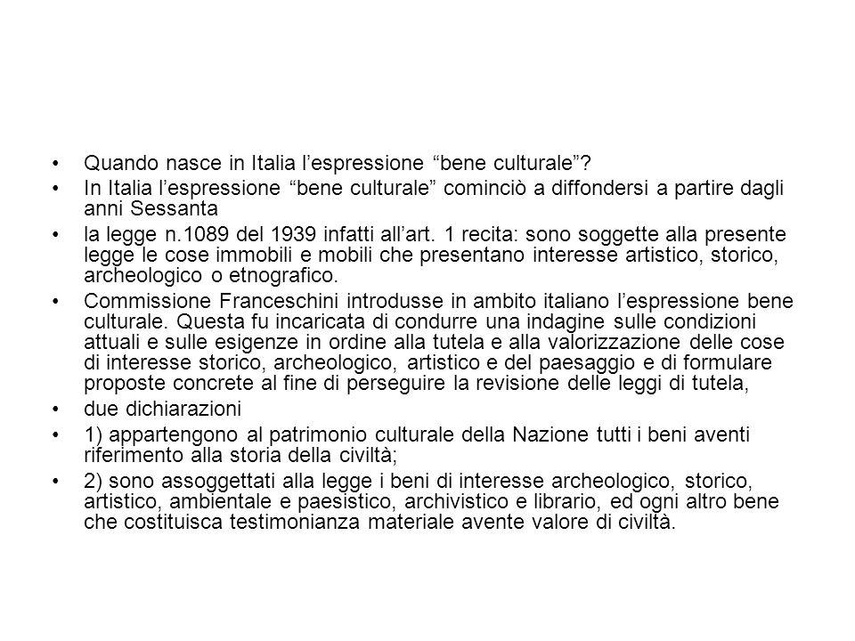 Quando nasce in Italia l'espressione bene culturale