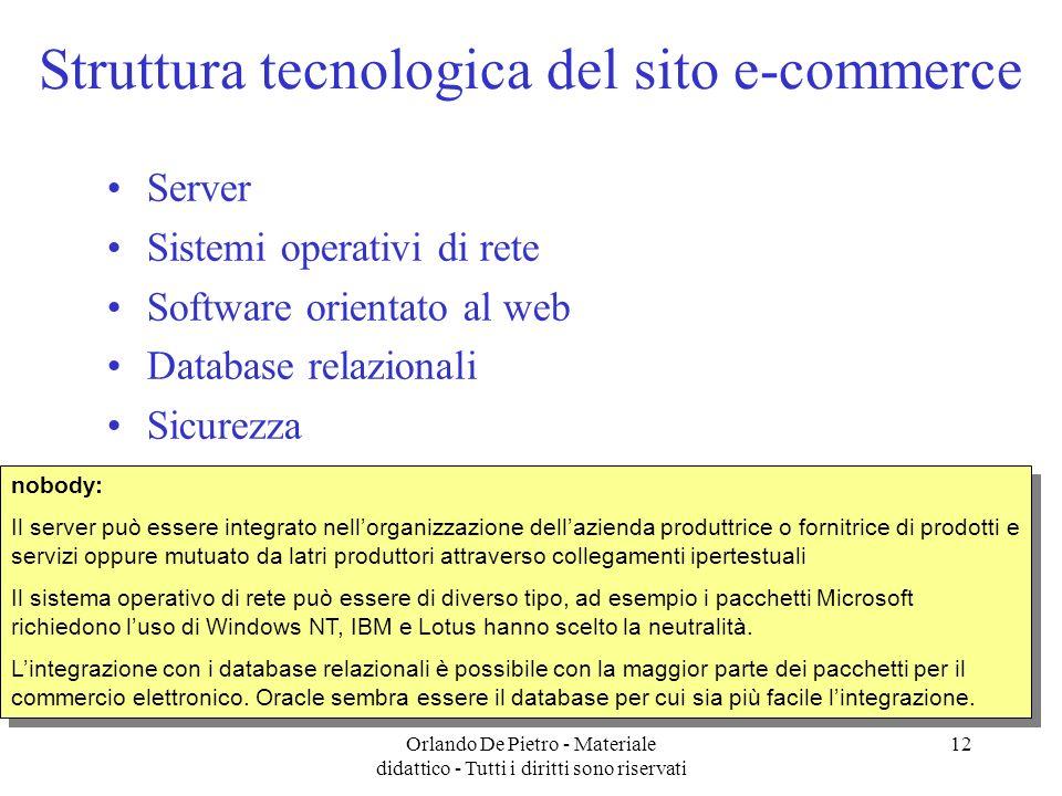 Struttura tecnologica del sito e-commerce