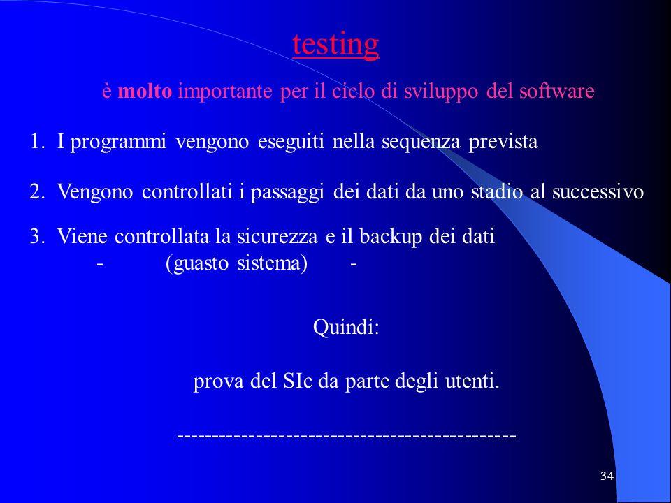 testing è molto importante per il ciclo di sviluppo del software