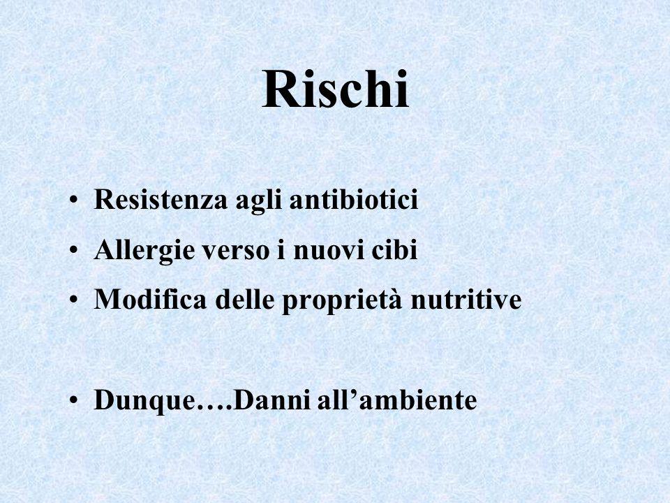 Rischi Resistenza agli antibiotici Allergie verso i nuovi cibi