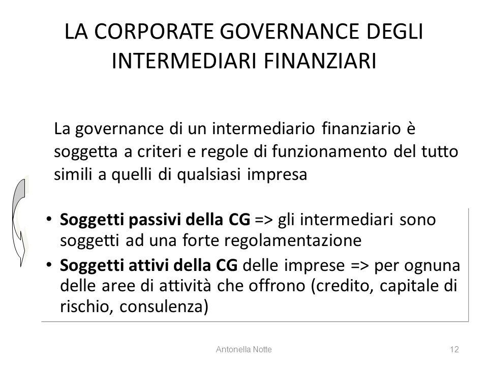 LA CORPORATE GOVERNANCE DEGLI INTERMEDIARI FINANZIARI