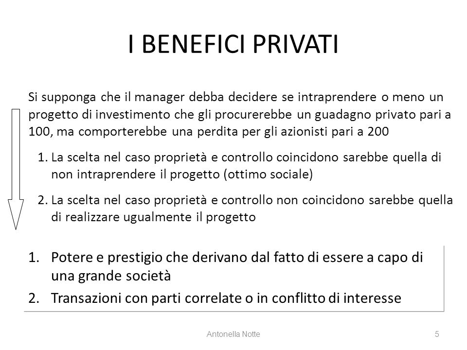 I BENEFICI PRIVATI